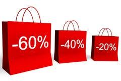 20, 40 und 60 Prozent weg von den Einkaufen-Beuteln Lizenzfreies Stockbild