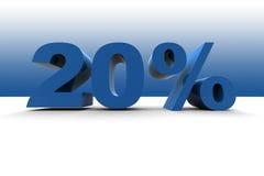 20%. Sign - 3d illustration on blue background Stock Photos