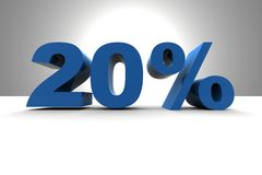 20%. Sign - 3d render illustration Royalty Free Stock Photos
