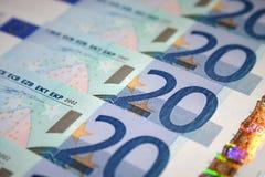 20 banknotów euro zdjęcia royalty free