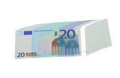 20 banknotów euro odizolowywający Zdjęcia Stock