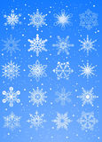 20 beautiful cold crystal gradient snowflakes Royalty Free Stock Images
