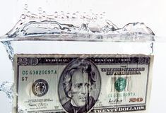 $20 bill splash Royalty Free Stock Images