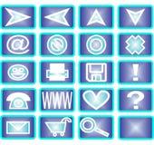 20 blåa symboler stock illustrationer