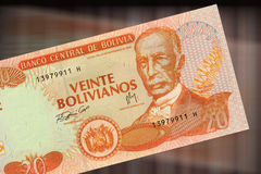 20 bolivianos. 20 bolivian currency. 20 Bolivianos from the Central Bank of Bolivia with the figure of Cecilio Guzman de Rojas Royalty Free Stock Images