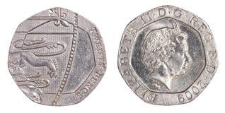 20 brittiska encentmynt myntar Royaltyfri Bild