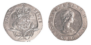 20 brytyjskich centów monet Obrazy Royalty Free