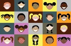 20 caras de los cabritos Imagen de archivo libre de regalías