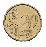 20 cent euro coin. With the europe map Stock Photos