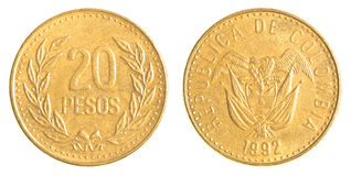 20 Colombian pesos coin Royalty Free Stock Photo