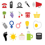 20 Colorful Icons. 20 various colorful simple icon illustrations Stock Image