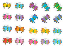 20 colourful butterflies Royalty Free Stock Photos