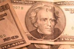20 cuentas de dólar Foto de archivo