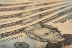 20 cuentas de dólar Foto de archivo libre de regalías
