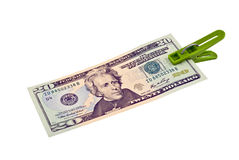 20 das US-Dollars Bündel befestigen sich mit Clothes-pin Stockfotografie