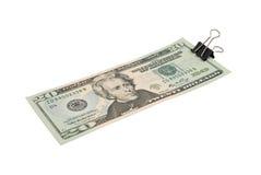 20 das US-Dollars Bündel befestigen sich mit Papierklammer Stockfotos
