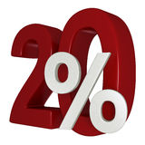 20% discount. 20 percent off sale sign 3d image Royalty Free Stock Images