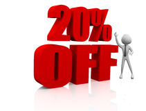 20% discount. 3D man with 20% Off sale discount vector illustration