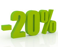 20% discount. Olive green 3D signs showing 20% discount and clearance Royalty Free Stock Photo