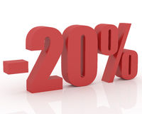 20% discount. Red 3D signs showing 20% discount and clearance stock illustration