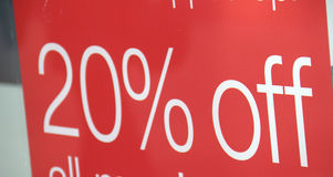 20% Discount in sale. Red sign with white text saying Stock Photos
