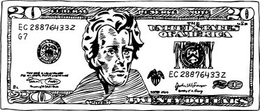 20 Dollar Bill. Hand drawn sketch of a 20 dollar bill royalty free illustration