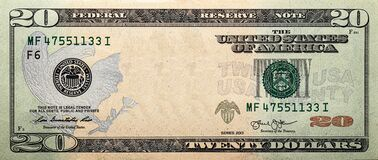 Free 20 Dollar Bill With Empty Middle Area Stock Photos - 205907443