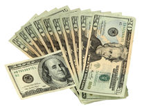 20 Dollar Bills with one 100 Dollar Bill Royalty Free Stock Photos