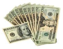 20 Dollarscheine mit einem 100 Dollarschein Lizenzfreie Stockfotos