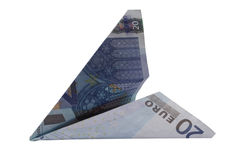 20 euro airplane. On the white background Royalty Free Stock Images