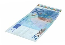 20 Euro banknote. Close-up of 20 Euro banknote isolated on white background Royalty Free Stock Photos