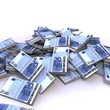 20 euro banknotes. A pile of lot of 20 euro banknotes Stock Photography