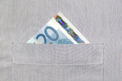 20 Euro in buttonhole. Image shows 20 Euro banknote in buttonhole Royalty Free Stock Photos