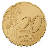 20 euro cent. Isolated on a white background. Vector illustration Royalty Free Stock Photos