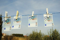 20 euro on the drying rack Royalty Free Stock Photo