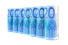 20 euro- notas de banco da moeda Fotos de Stock Royalty Free