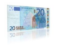 20 Euro with reflection Stock Photo