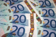 20 Euroanmerkungen/Rechnungen lizenzfreies stockfoto
