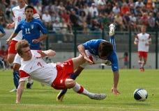 20 fotboll italy poland u vs Royaltyfri Fotografi