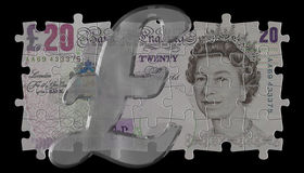 20 funtów symboli szklanych Fotografia Stock