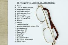 20 grandes líderes das coisas fazem consistentemente Imagem de Stock