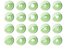 20 green buttons Stock Image