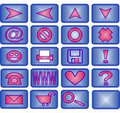20 icon set(blue and pink). Collection of 20 different useful icons (blue and pink theme Stock Images