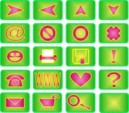 20 icon set (green and pink). Collection of 20 different useful icons (green and pink theme Royalty Free Stock Photo