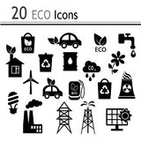 20 Icons - ecology and industry. Icons on ecology, the industries, fuels Royalty Free Stock Photography