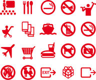 20 icons - recreation, travel, information. 20 different pictograms - tranportation, recreation - red Royalty Free Stock Photo