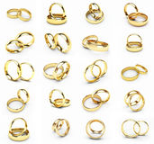 20 isolated gold wedding rings. 3d isolated gold wedding rings stock illustration