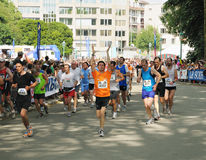 20 km de Bruxelles. BRUSSELS, BELGIUM-MAY 31: Participants run to the finish during 20 km de Bruxelles Marathon on May 31, 2009 in Brussels. This is a 30th stock photo