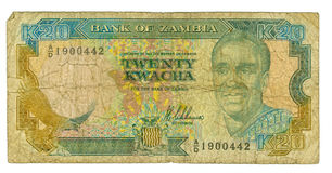 20 kwacha bill of Zambia Royalty Free Stock Photo