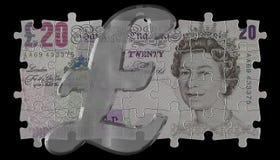 20 libras y símbolo de cristal Fotografía de archivo